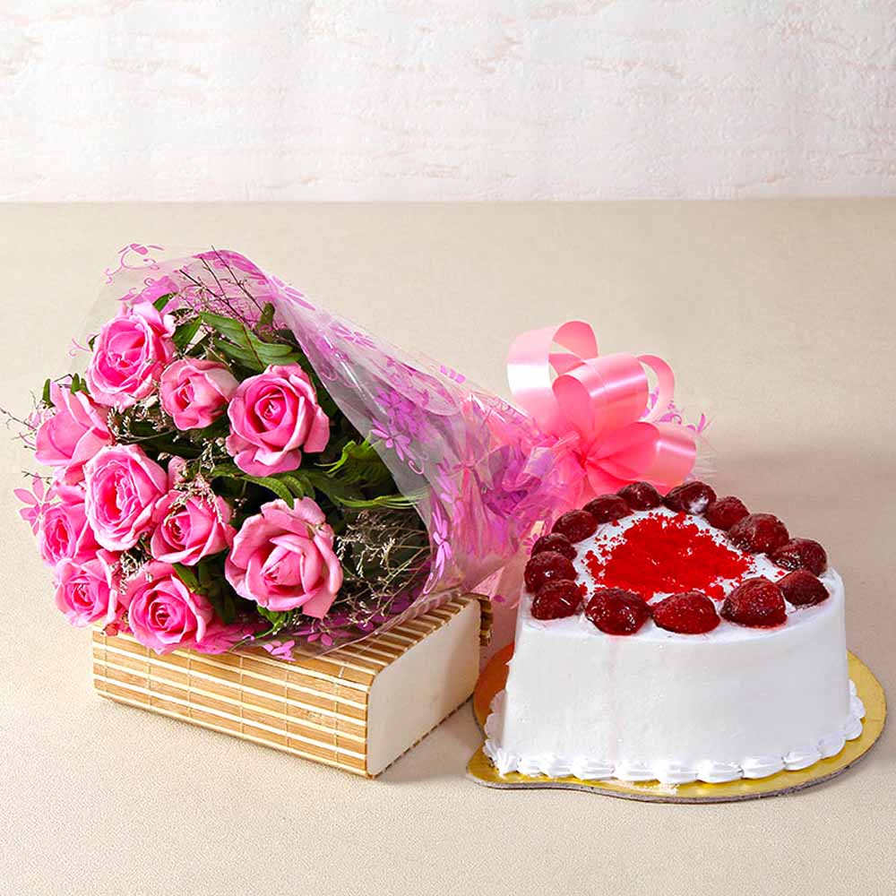 Cakes & Flowers-Love Ten Special Pink Roses Bunch with Heart Shape Strawberry Cake