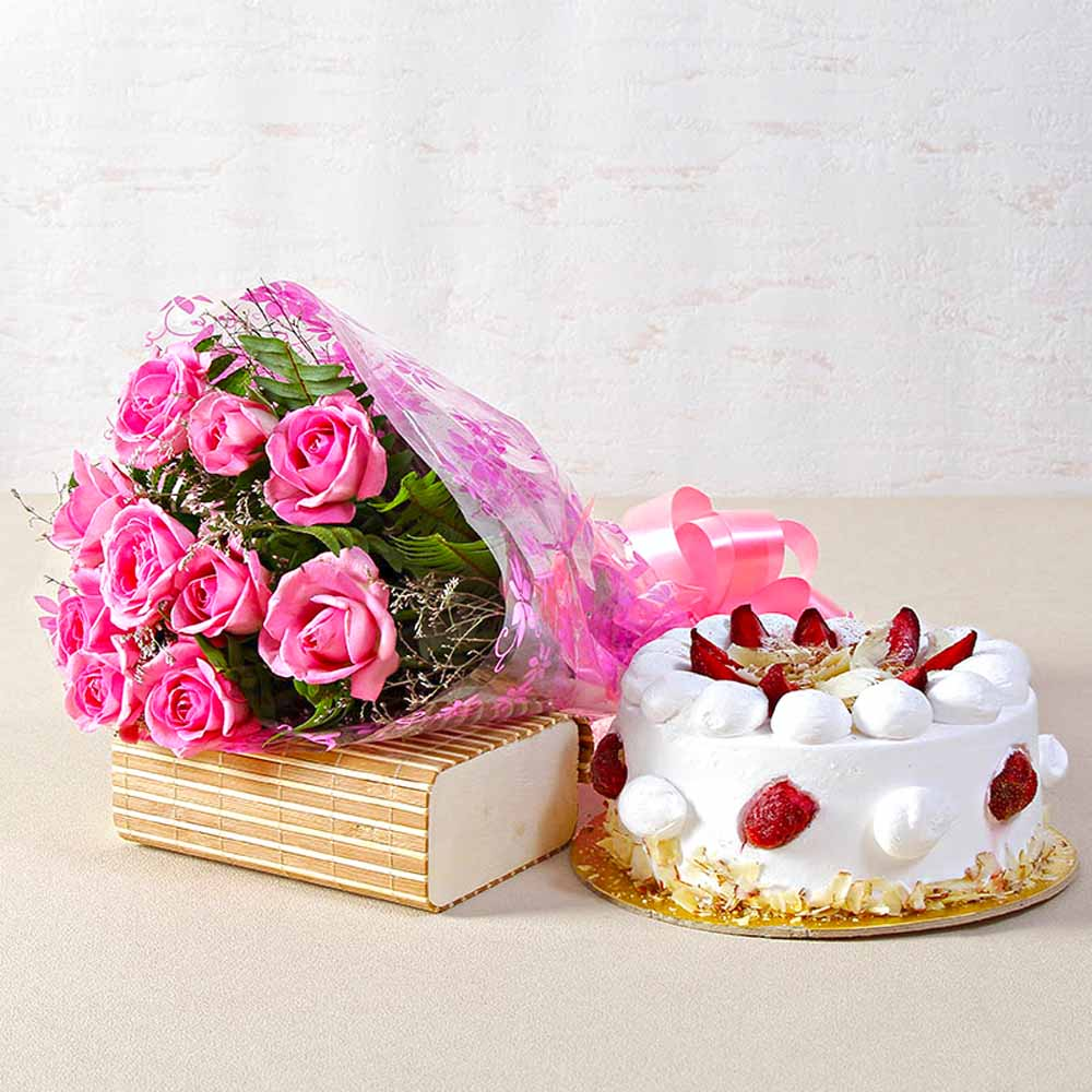 Ten Pink Roses Bouquet with Half Kg Fresh Strawberry Cake
