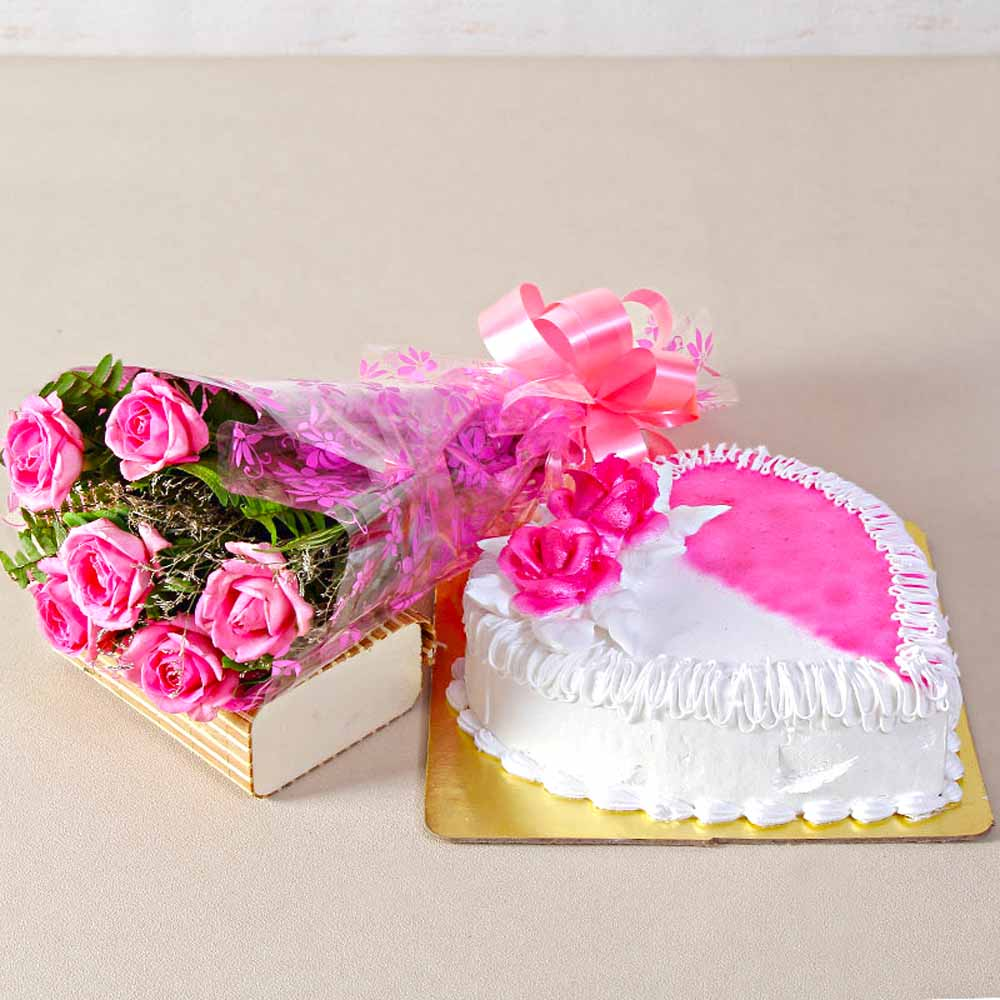 Cakes & Flowers-Six Pink Roses with Heartshape Strawberry Cake