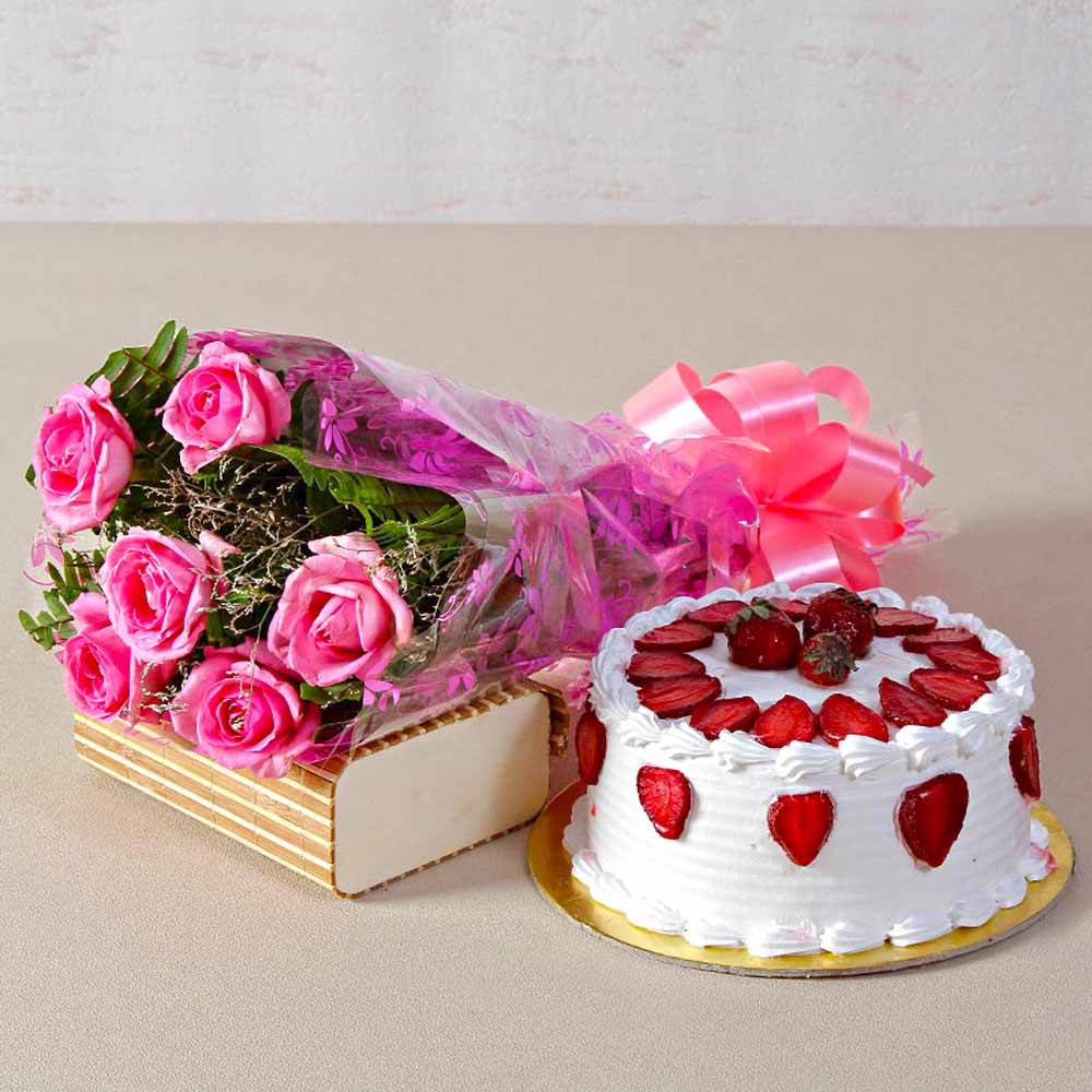Cakes & Flowers-Six Pink Roses Bouquet with Round Strawberry Cake
