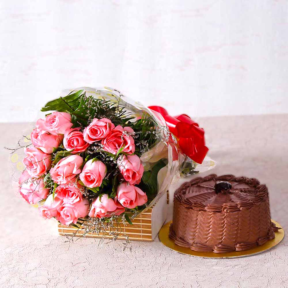 Cakes & Flowers-Fifteen Pink Roses with Chocolate Cake