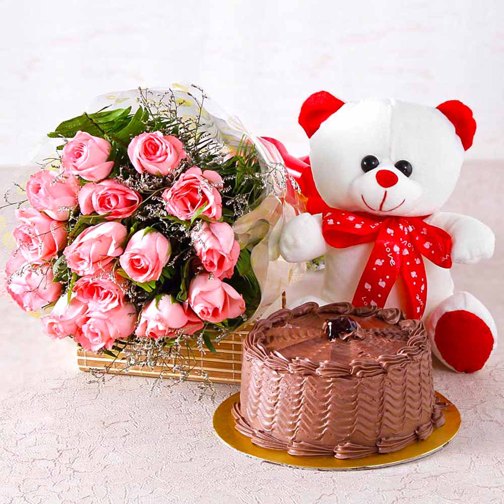 Cakes & Flowers-Fifteen Pink Roses with Chocolate Cake and Soft Toy