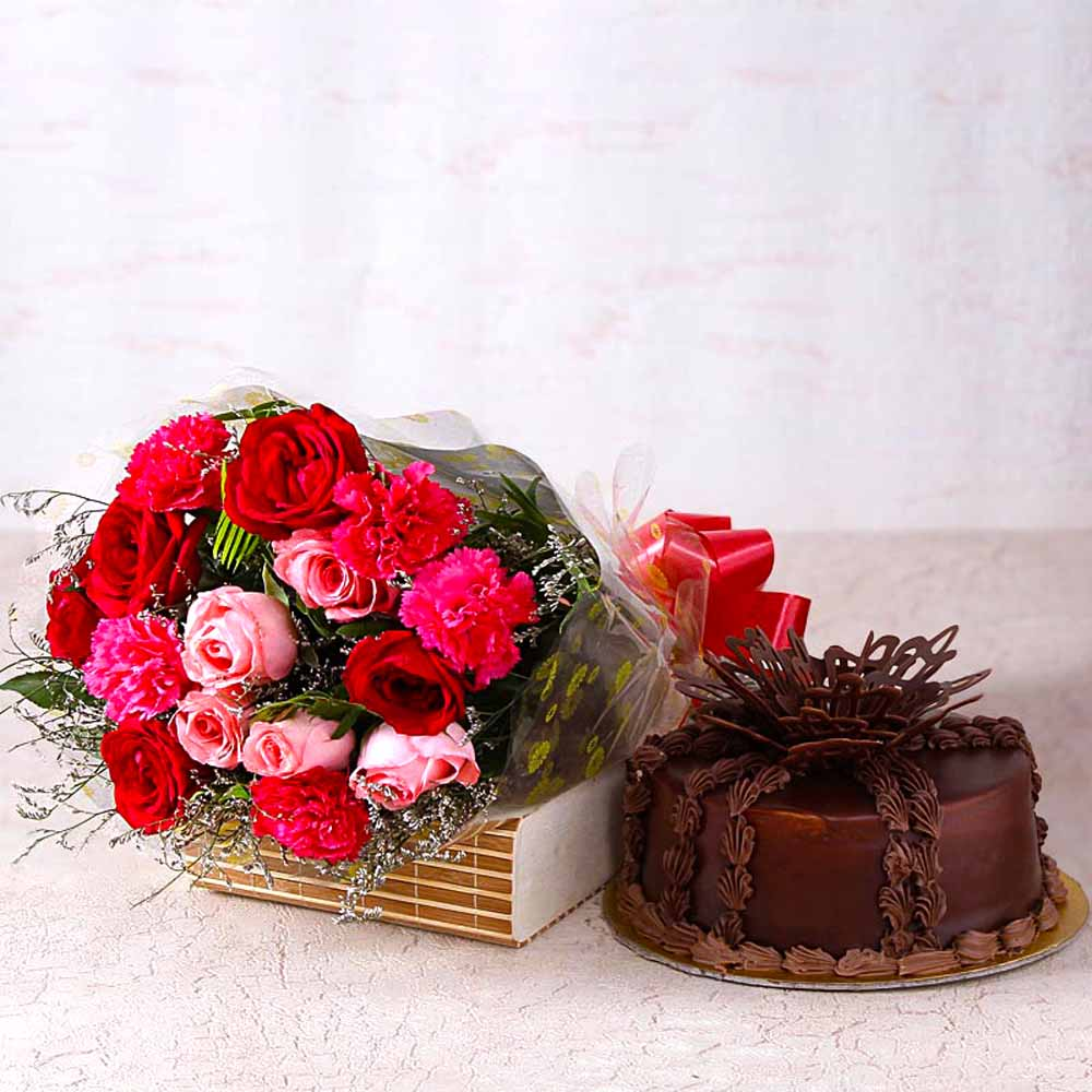 Cakes & Flowers-Gorgeous Roses With Carnations and Chocolate Cake