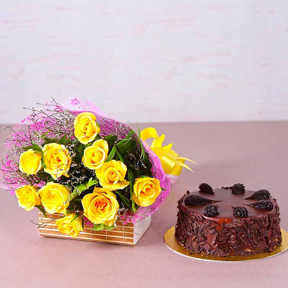 Cakes & Flowers-Ten Yellow Roses with Half Kg Choco Chips Chocolate Cake