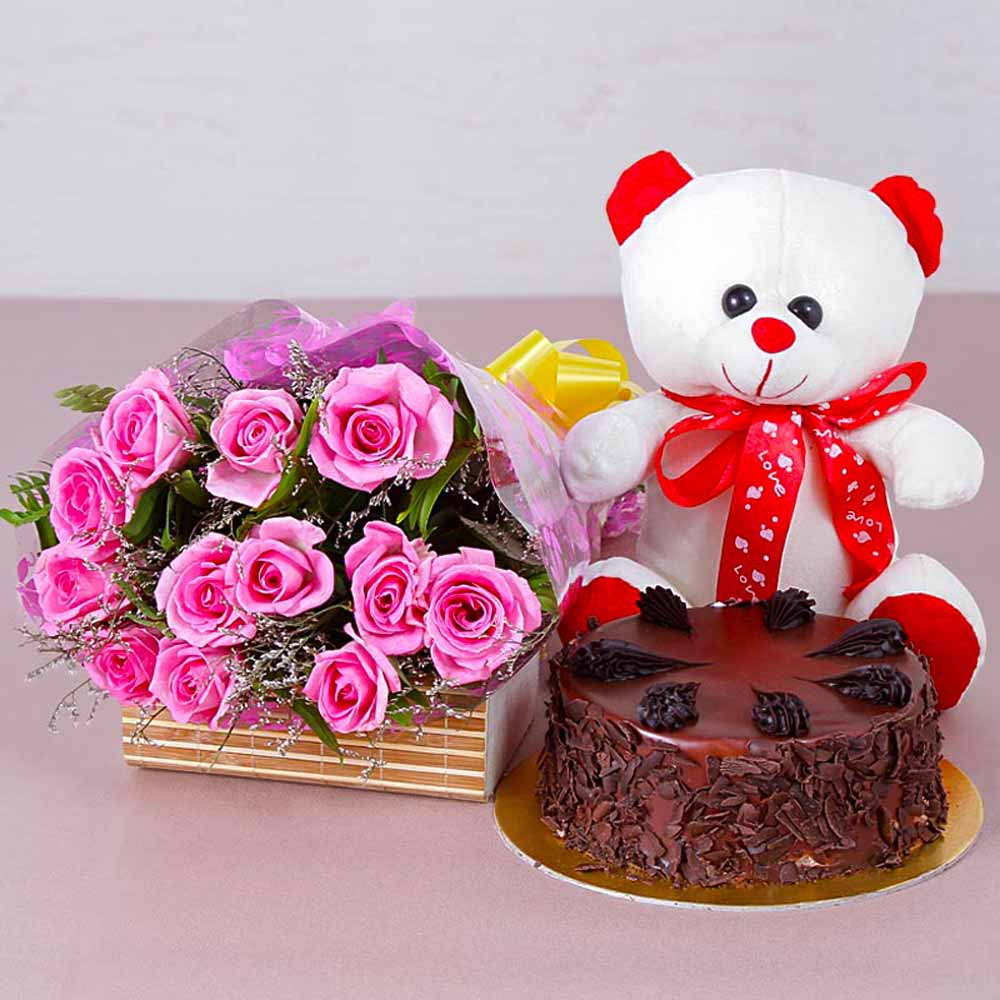 Cakes & Flowers-Choco Chips Cake with Teddy Bear and Pink Roses Bouquet