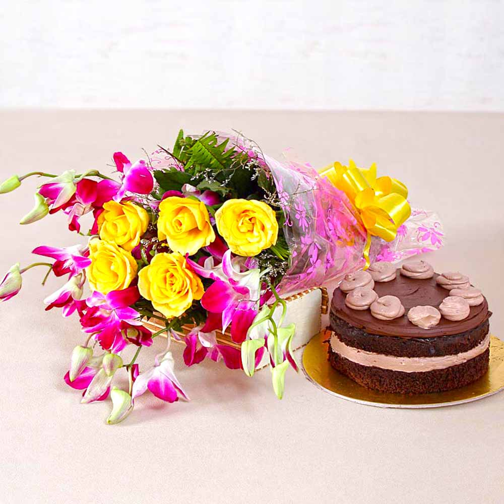 Cakes & Flowers-Yellow Roses and Orchids with One Kg Chocolate Cake