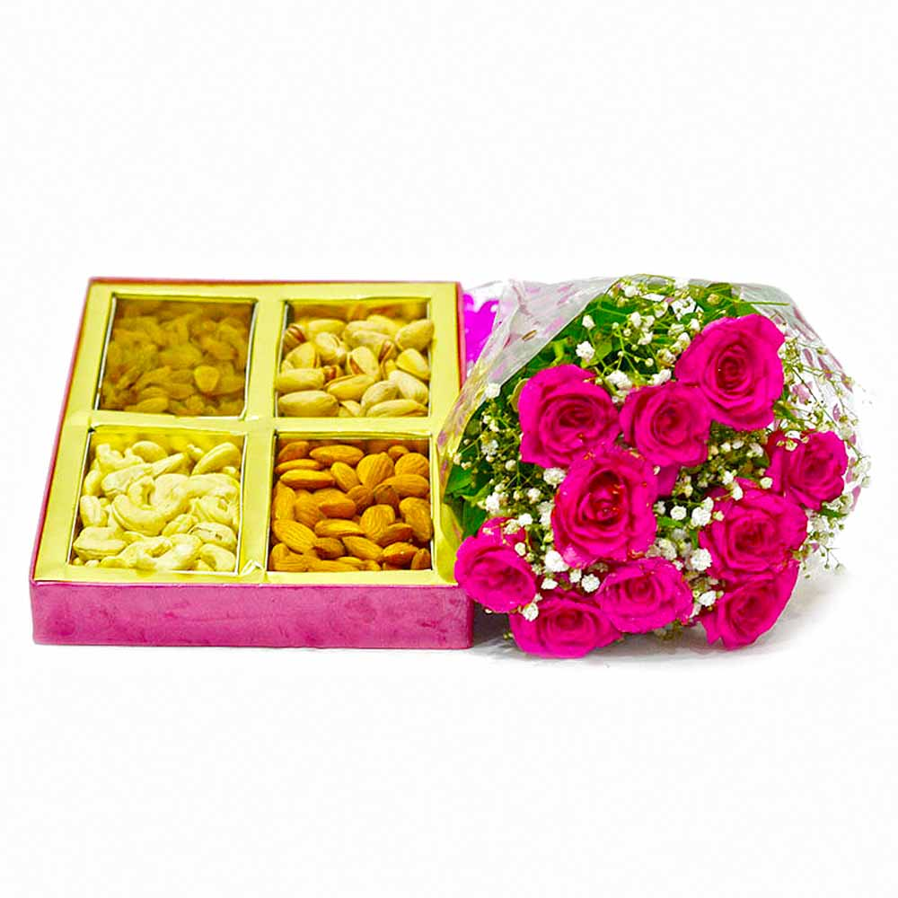 Basket of Assorted Dry Fruits with 10 Pink Roses