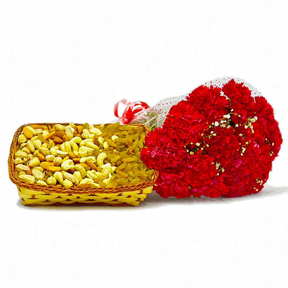 Bunch of 12 Red Carnations and Mix Dry Fruit Basket