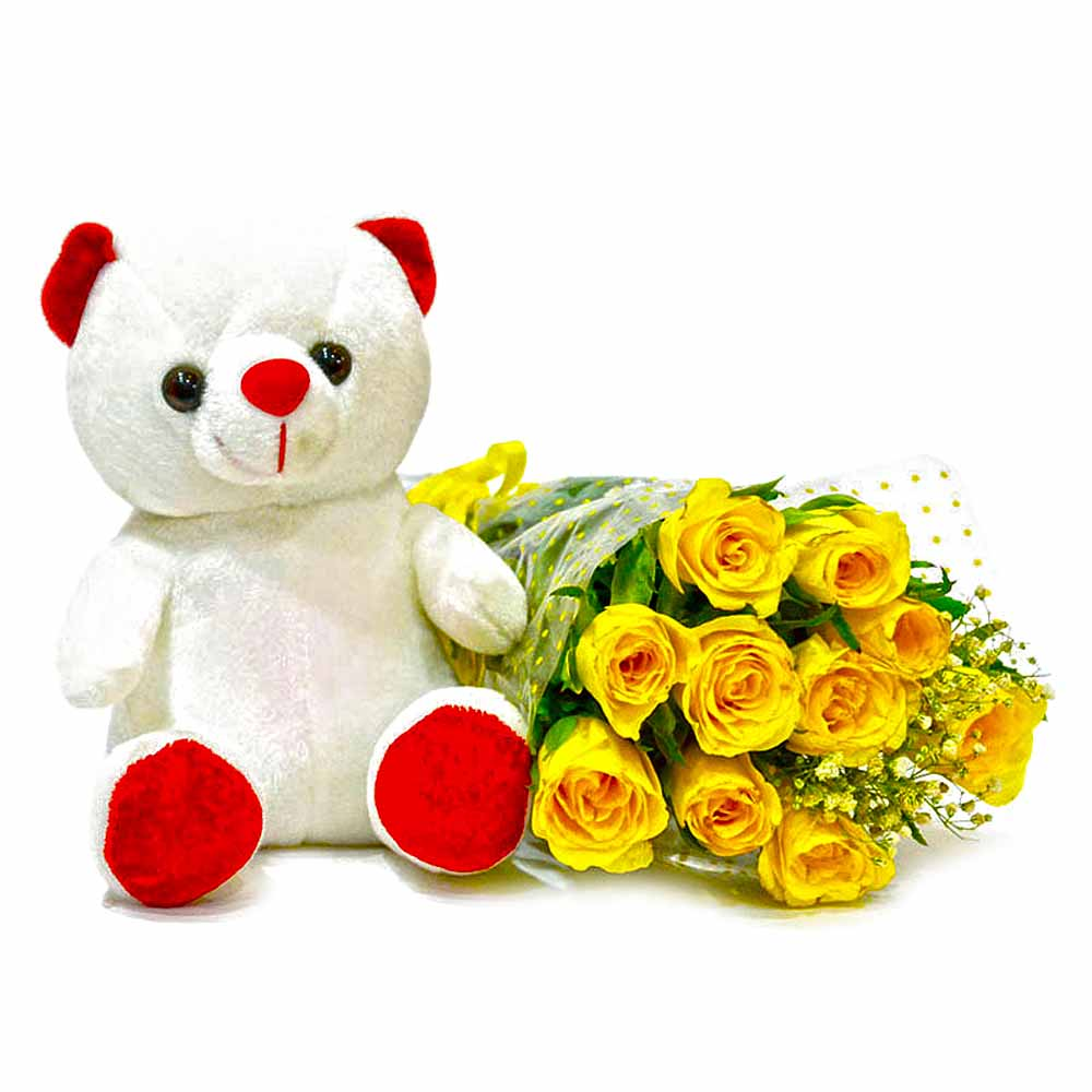 Forever 10 Yellow Roses With Cute Teddy Bear India : fga477large4 from www.tajonline.com size 1000 x 1000 jpeg 84kB