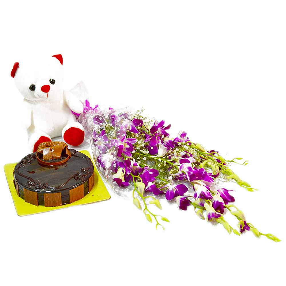 Flower Hampers-Six Purple Orchids with Cute Teddy and Yummy Chocolate Cake