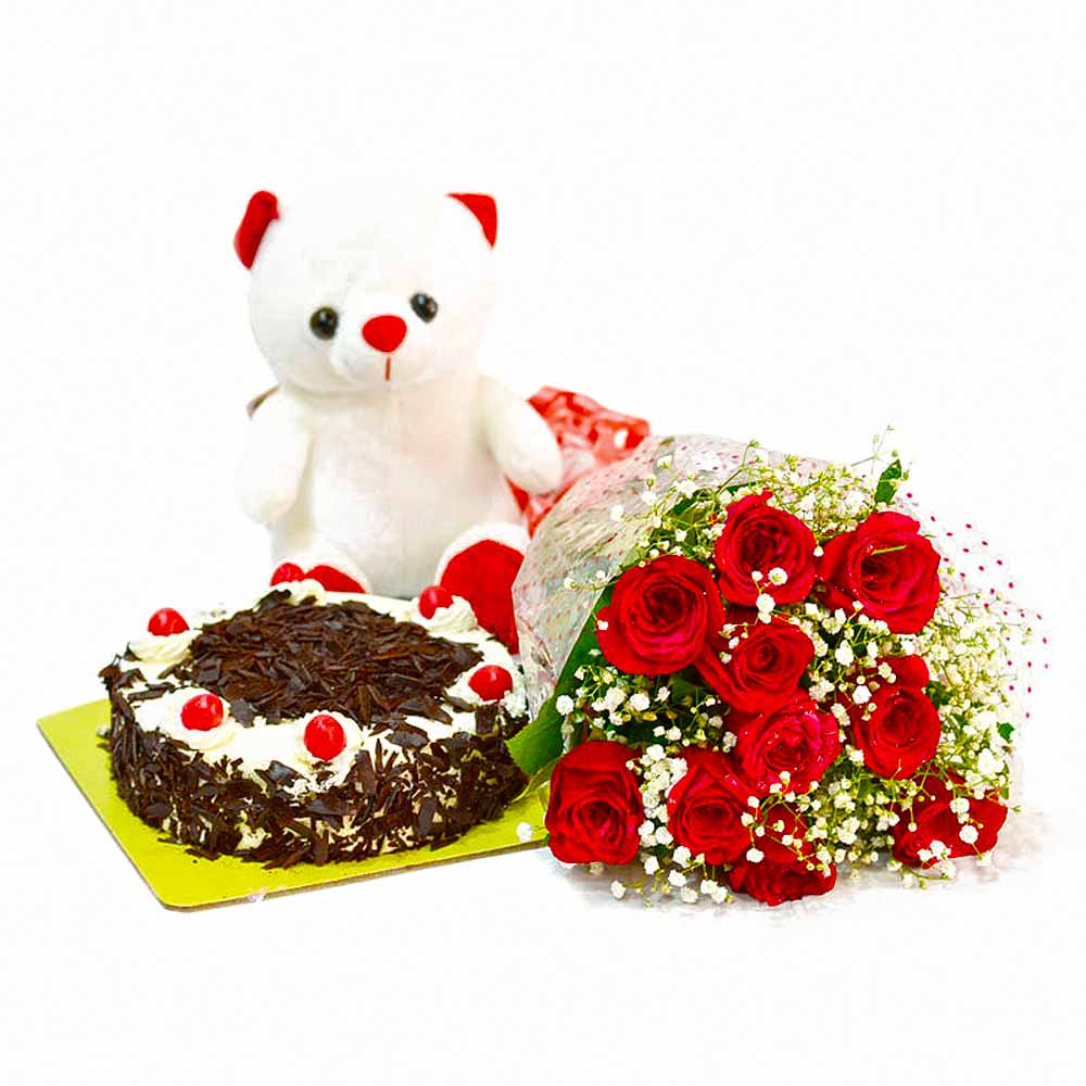 Flower Hampers-Ten Red Rose with Eggless Black Forest Cake and Soft Toy