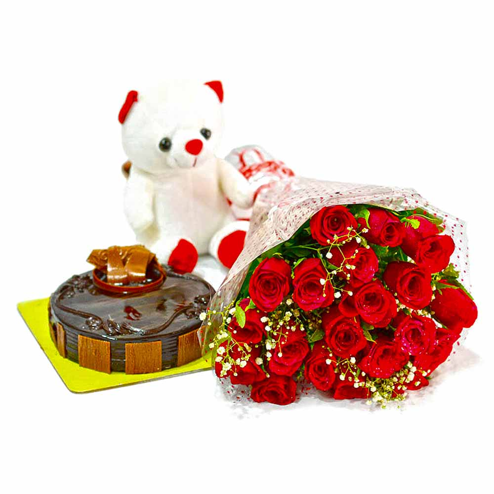 Flower Hampers-Bouquet of 20 Red Roses with Cute Teddy and Chocolate Cake