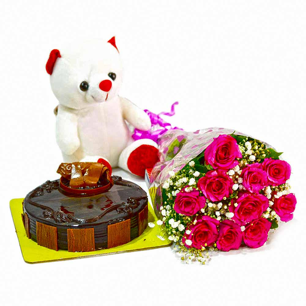 Flower Hampers-Bouquet of 10 Pink Roses with Cute Teddy and Half Kg Chocolate Cake