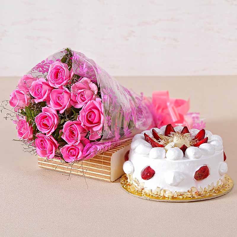 Cakes & Flowers-Twelve Pink Roses and Strawberry Cake for any Occasion