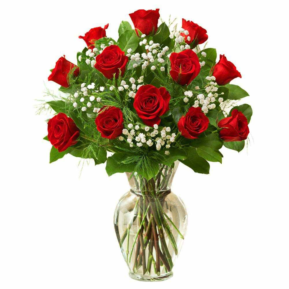 Twelve Red Roses In Glass Vase
