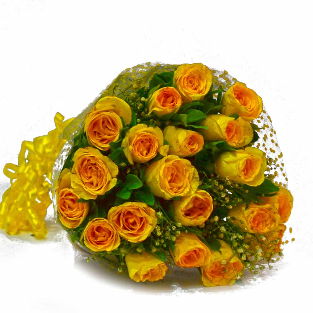 Fresh 25 Yellow Roses Hand Bunch