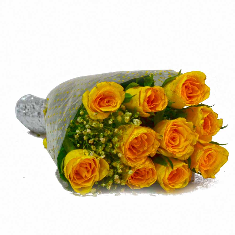 Ten Yellow Roses Hand Tied