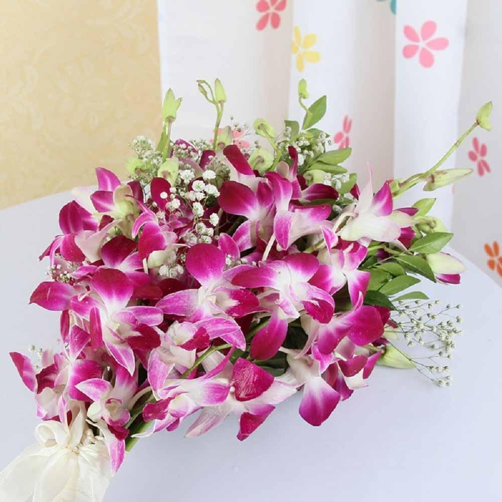 Bouquet of Ten Purple Orchids