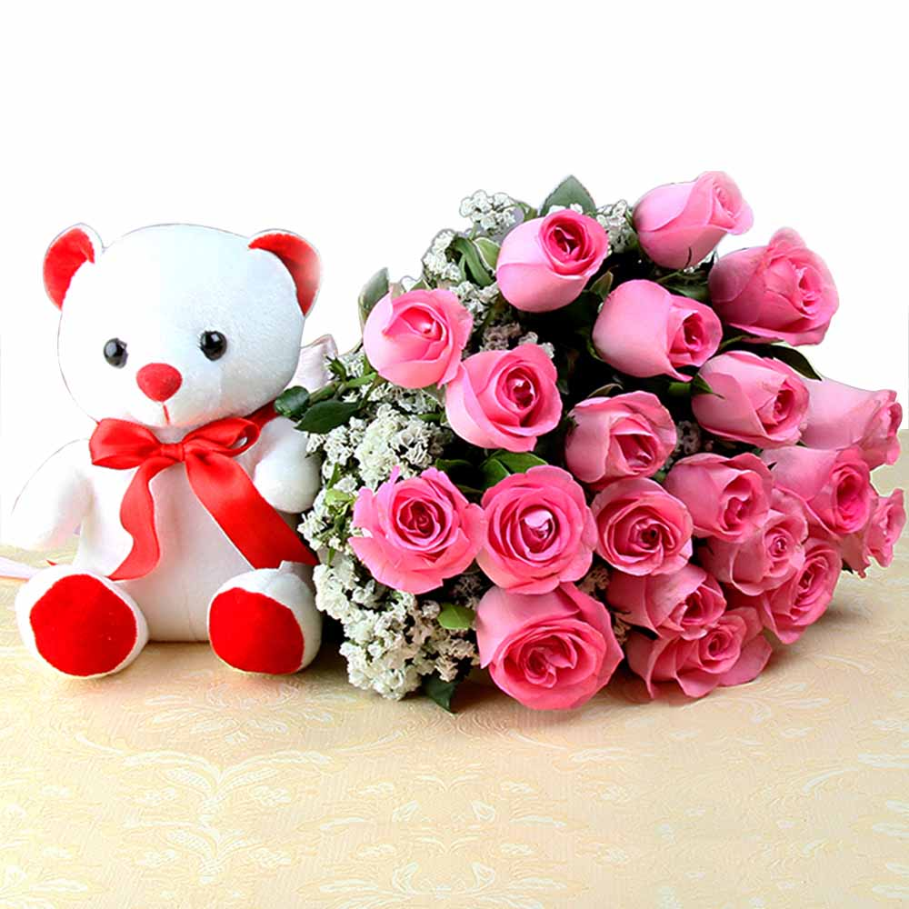 Soft Toy Hampers-Exclusive Bunch of Pink Roses with Small Teddy Bear