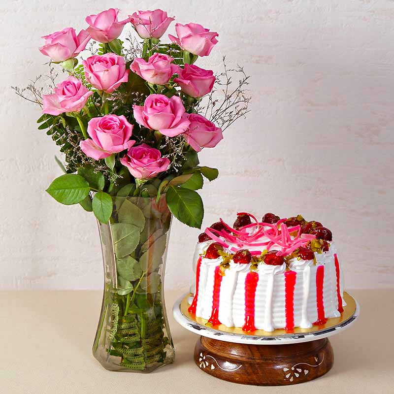 Cakes & Flowers-Strawberry Cake with Dozen Pink Roses in a Glass Vase