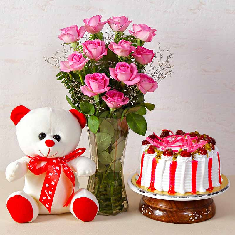 Flower Hampers-Pink Roses Vase with Strawberry Cake and Teddy Bear