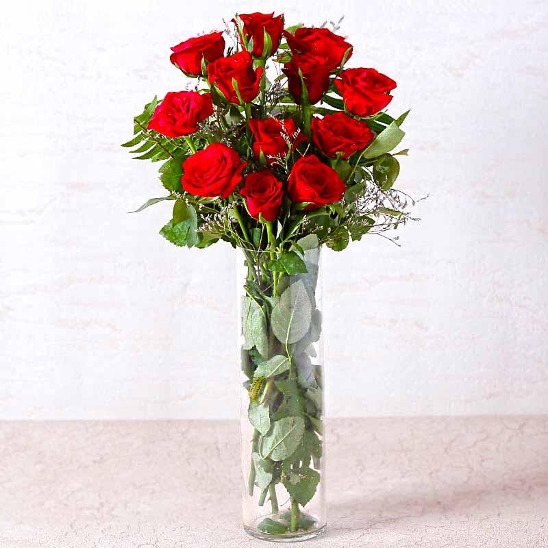 Vase of Dozen Red Roses
