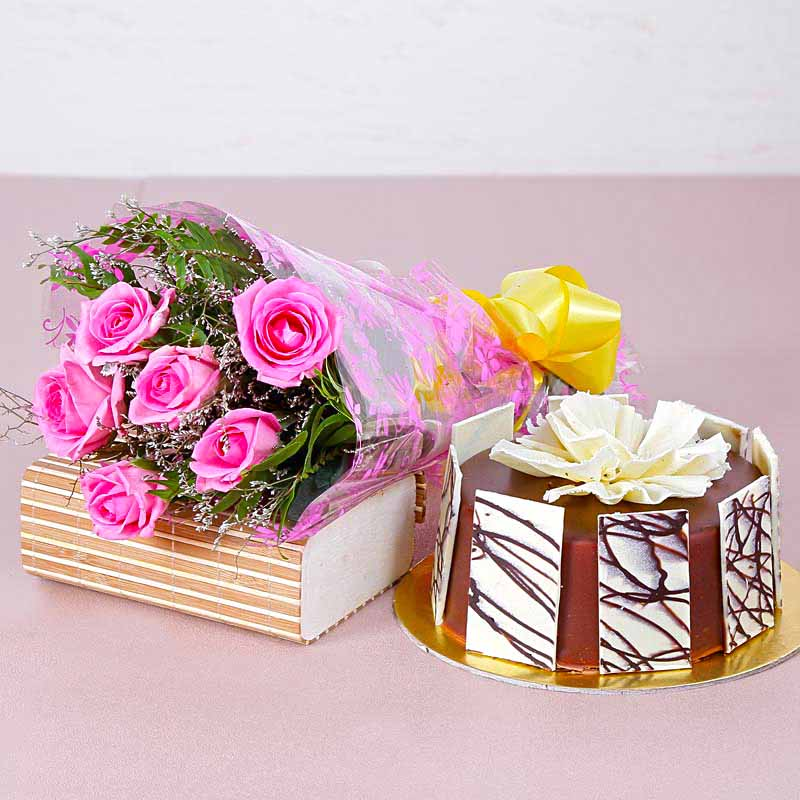 Cakes & Flowers-Six Pink Roses Hand Tied Bouquet with Half Kg Round Chocolate Cake