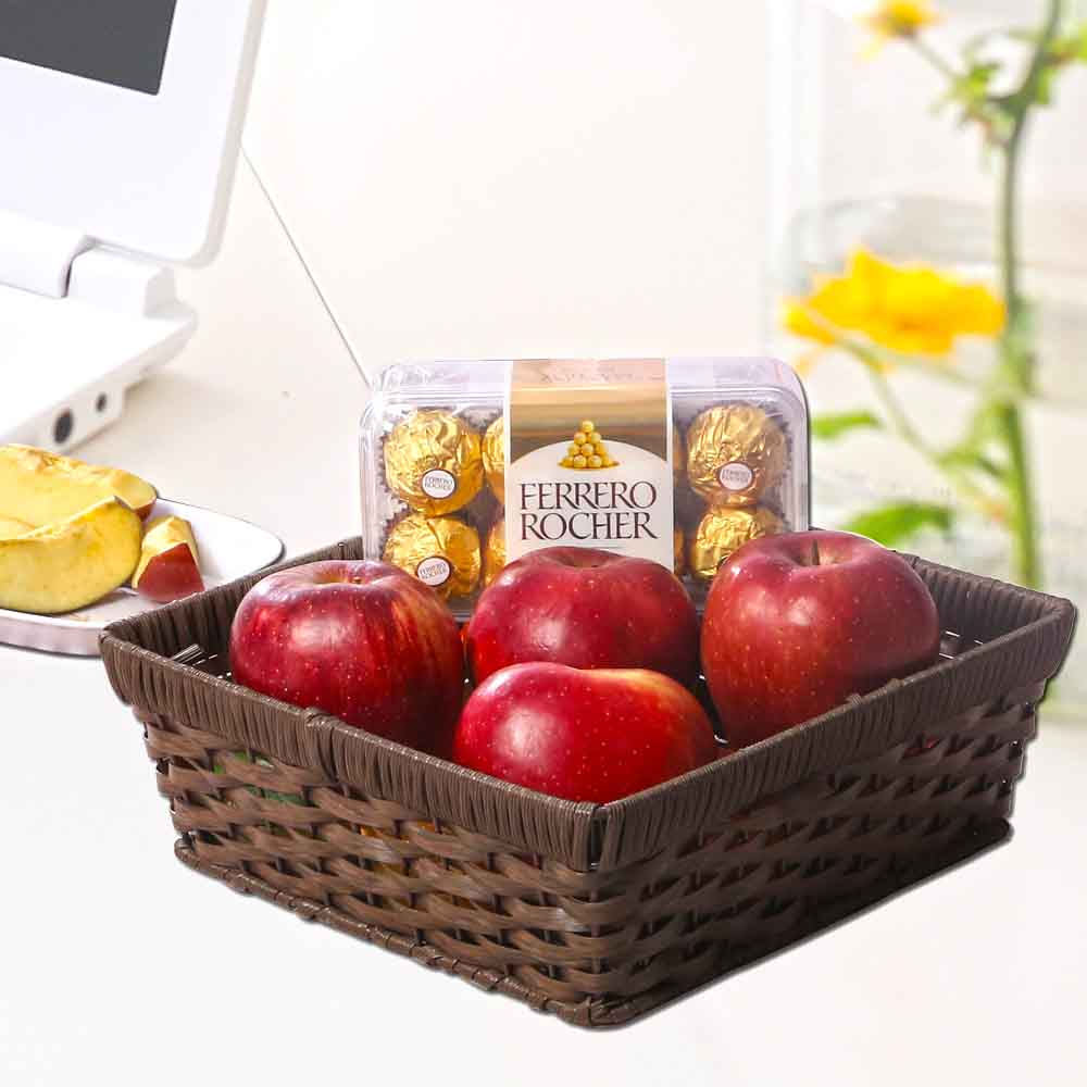 Apples Basket with Ferrero Rocher Chocolate