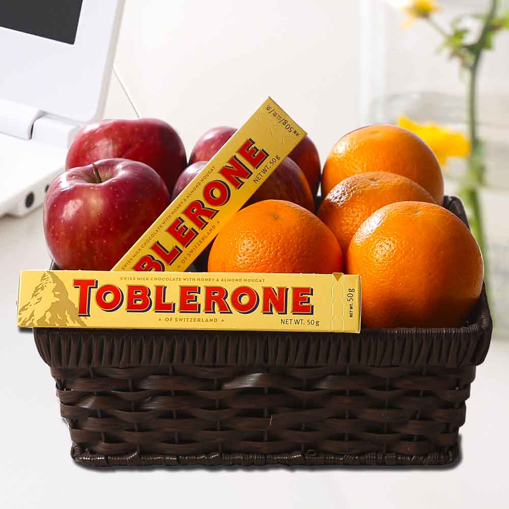 Fresh Fruits Basket with Toblerone Chocolate