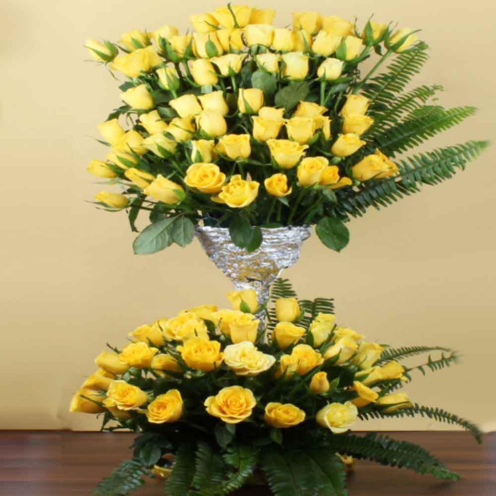 Hundred Yellow Roses Arrangement