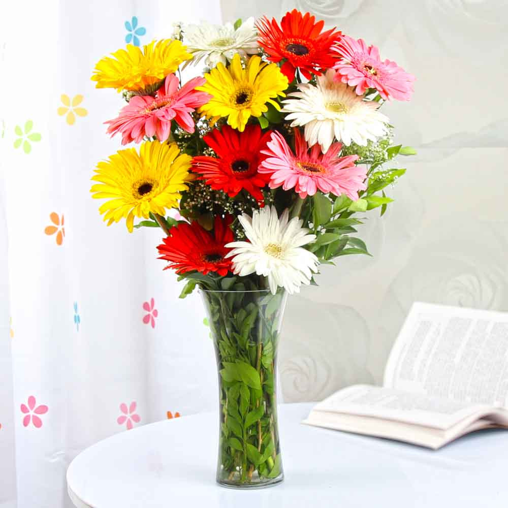 Vase Arrangements-Mix Gerberas in a Glass Vase
