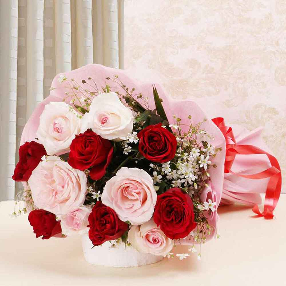Glamorous Red and Pink Roses Bouquet