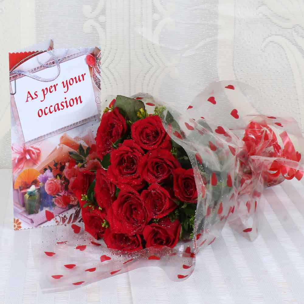 Designer Arrangements-Ten Red Roses Bouquet with Greeting Card
