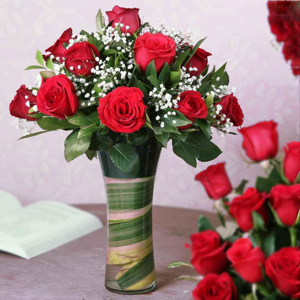 Fifteen Red Roses Arrange in a Vase