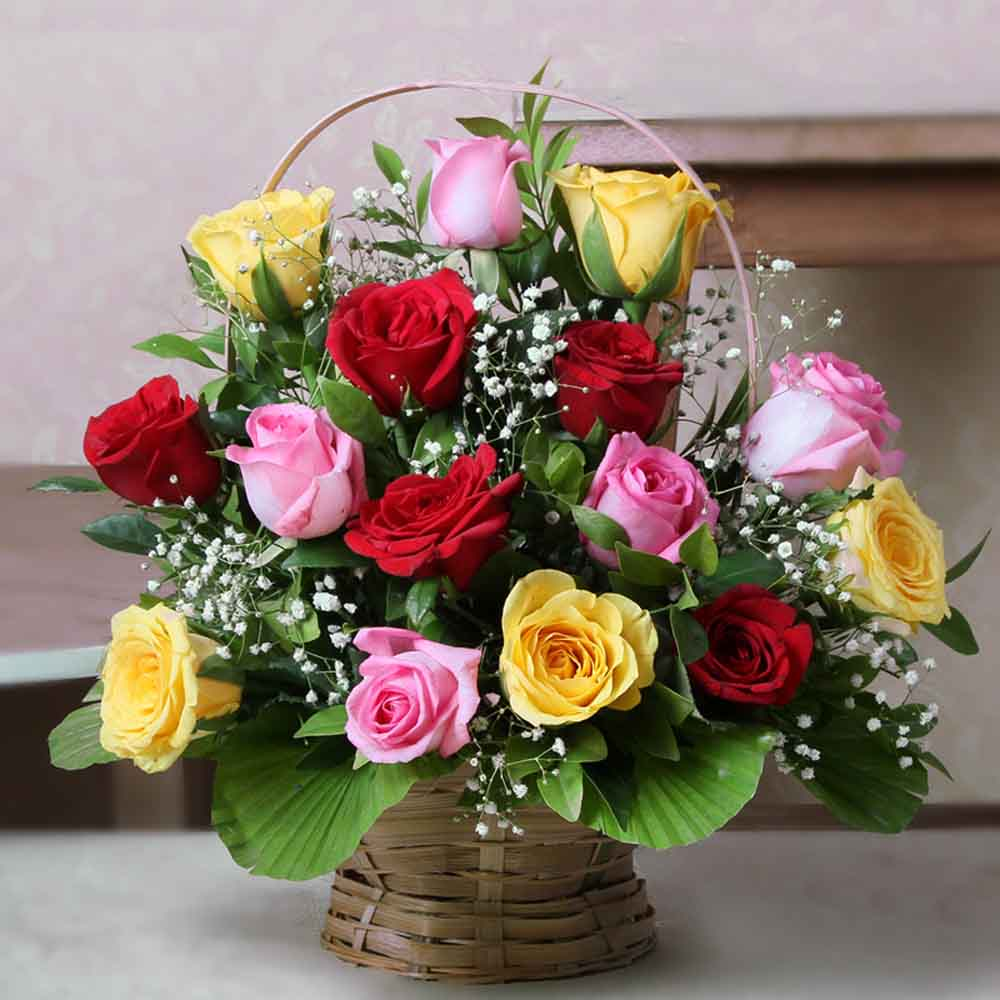 Flower Baskets-Exclusive Arrangement of Mix Roses in a Basket