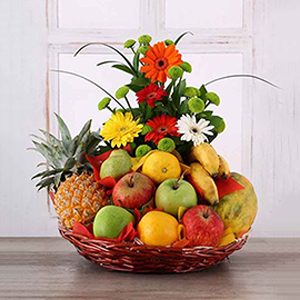 Fruit Hampers-Gerberas Arrangement with Assorted Fruits