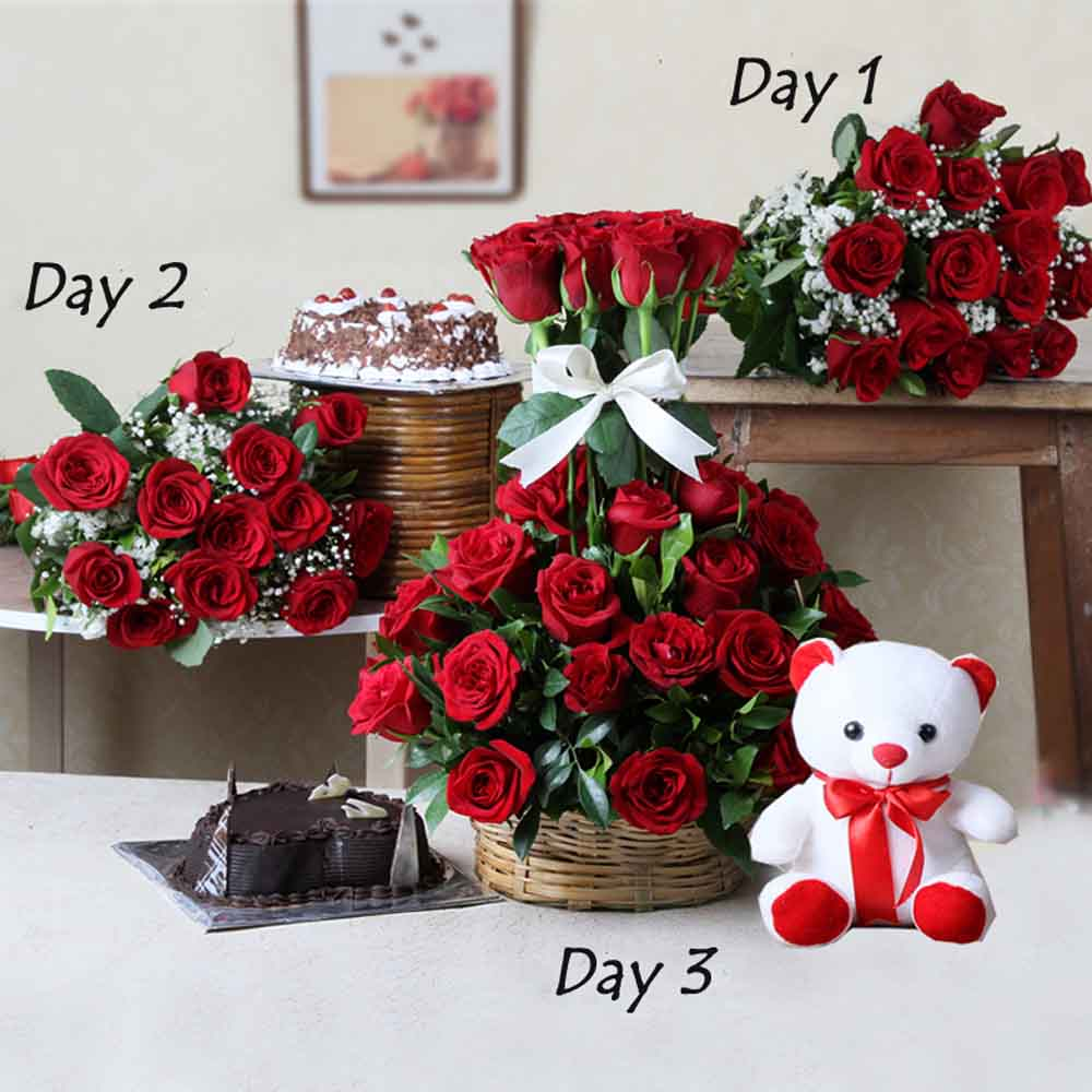 Cakes & Flowers-Lovely Gifts Combo For Three Days
