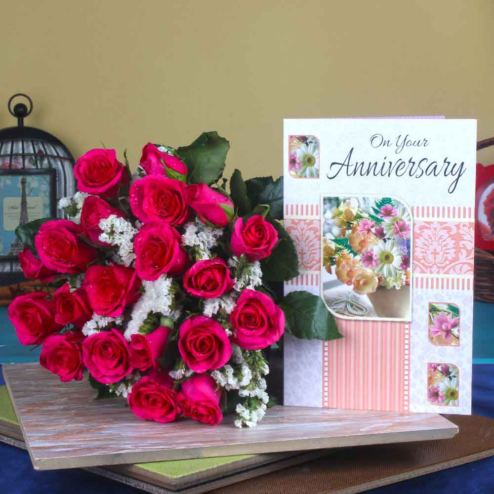 Anniversary Greeting Card with Red Roses