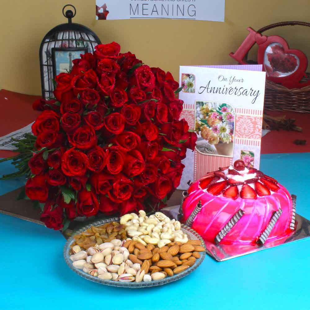 Cakes & Flowers-Anniversary Red Roses with Half Kg Strawberry Cake and Assorted Dry fruit