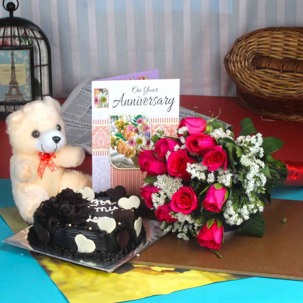 Cakes & Flowers-Anniversary Roses Bouquet and Chocolate Cake with Teddy Bear