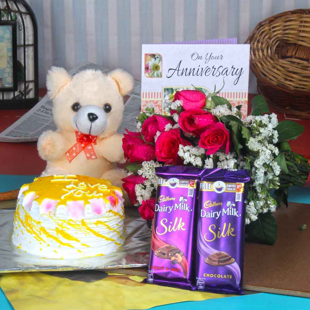 Soft Toy Hampers-Anniversary Cake with Silk Chocolates and Teddy Hamper