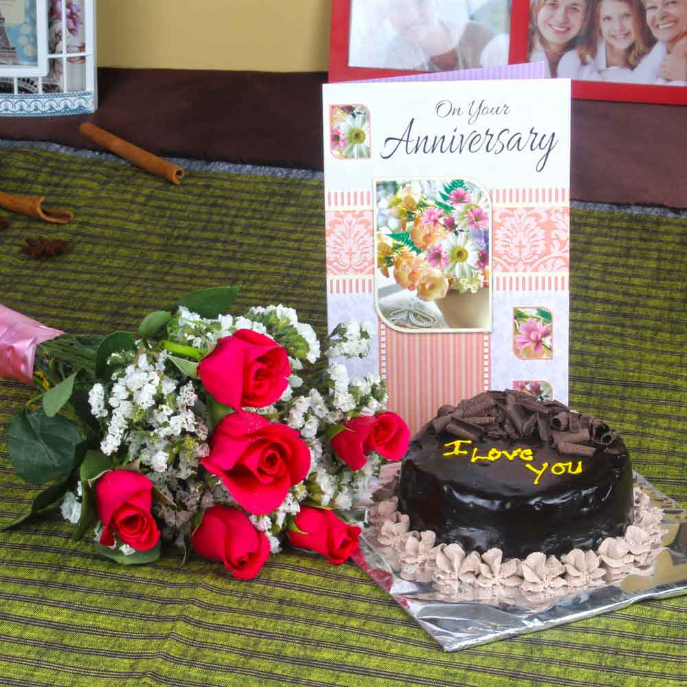 Anniversary Eggless Chocolate Cake with Six Fresh Red Roses and Greeting Card