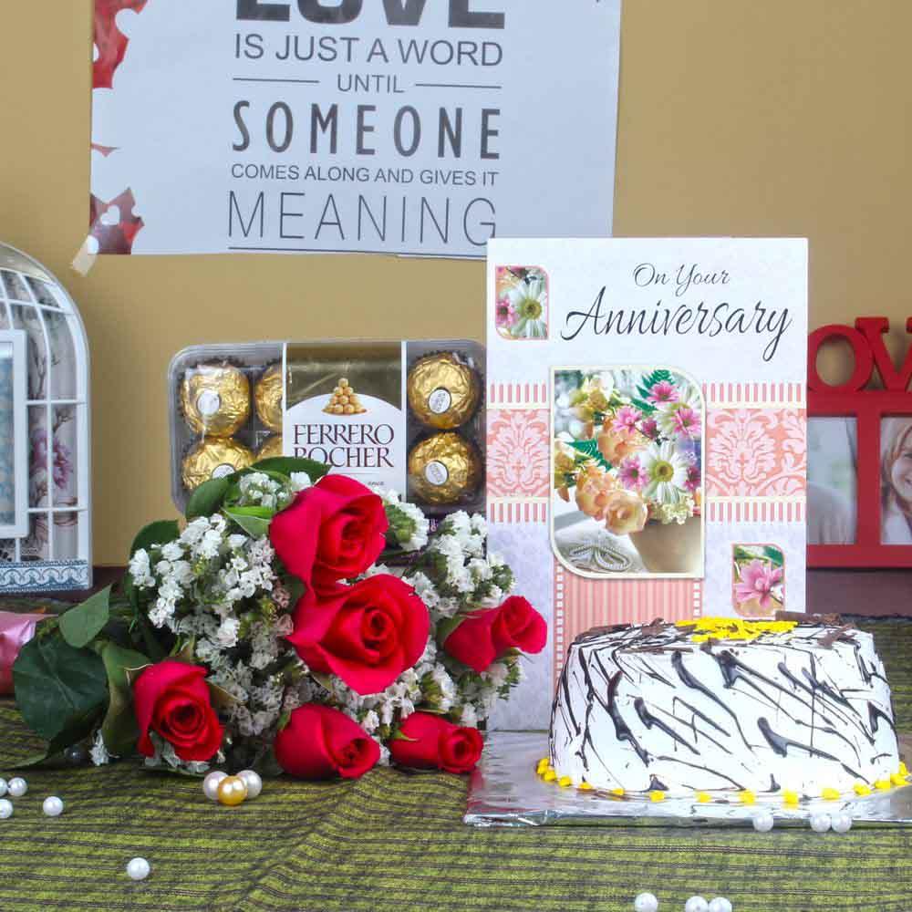 Roses with Anniversary Vanilla Cake and Ferrero Rocher Chocolates