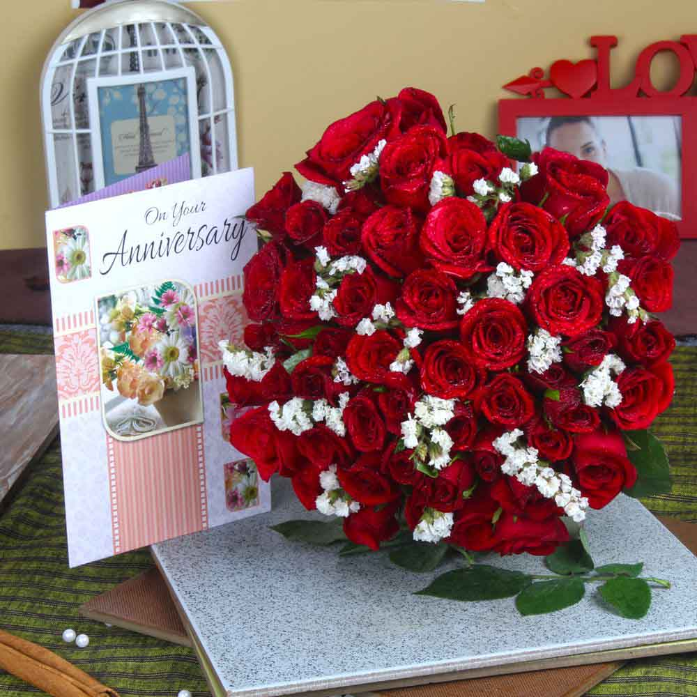 Red Roses Hand Bunch with Anniversary Greeting Card