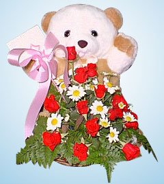Teddy with Rose Basket