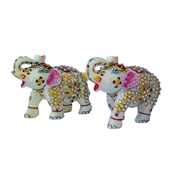 Marble Elephant - Set of 2