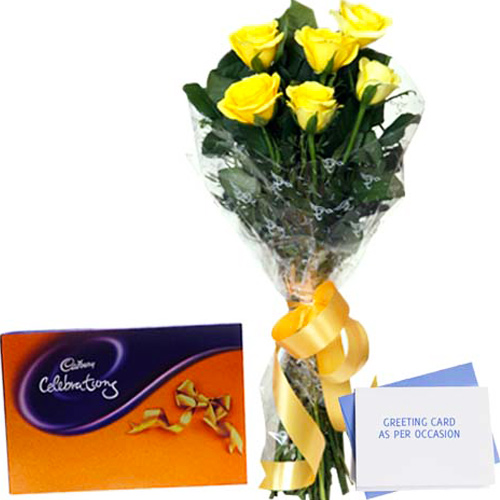 Chocolates & Flowers-Flower Hamper N Greeting Card
