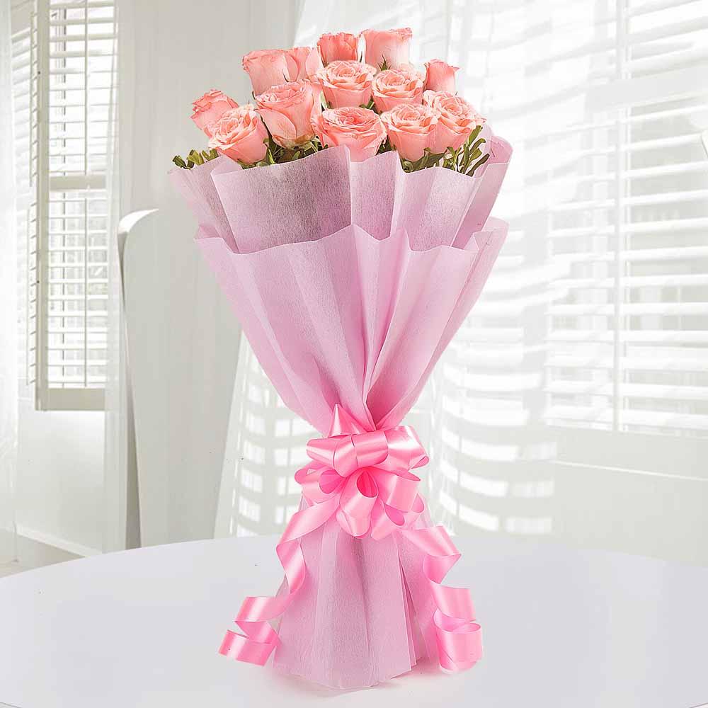Designer Arrangements-12 Endearing Pink Roses