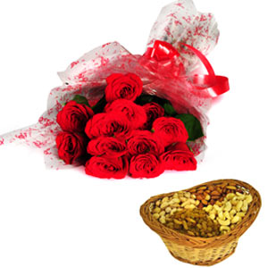 Flowers & Dryfruits-Roses with Dryfruits