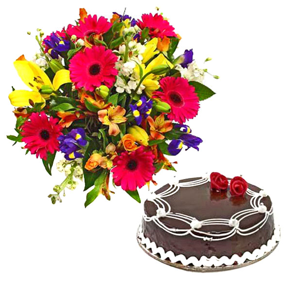 Arrangement of Chocolate Cake and Flower - Father's Day Gifts
